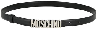 Moschino Slim Logo Leather Belt