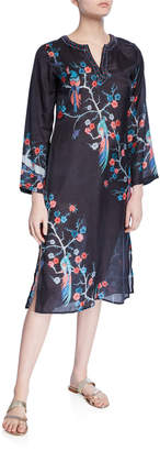 Bella Tu Avery Bird & Floral Embellished V-Neck Long-Sleeve Caftan