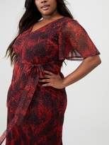 V By Very Curve Angel Sleeve Mesh Dress - Red Print