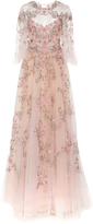 Marchesa Flutter Sleeve Embroidered Gown