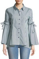 Neiman Marcus Button-Down Bow-Sleeve Striped Shirt