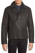 Vince Camuto Men's Leather Moto Jacket With Faux Shearling Lining
