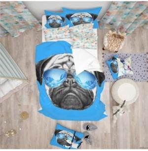 Design Art Designart 'Pug Dog With Mirror Sunglasses' Modern and Contemporary Duvet Cover Set - Twin Bedding