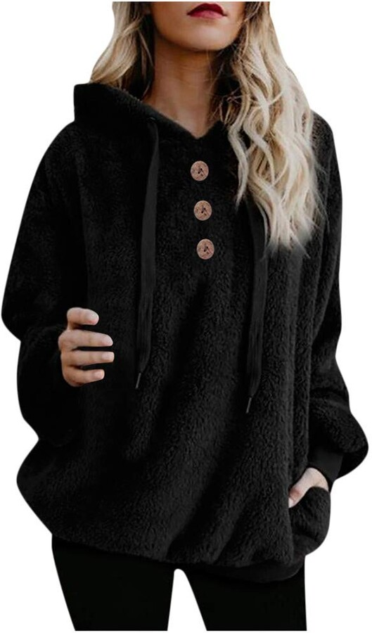 Thumbnail for your product : ReooLy Women Plus Size Furry Pullovers Long Sleeve Button Outerwear Hoodies Sweatshirt (XXXXL