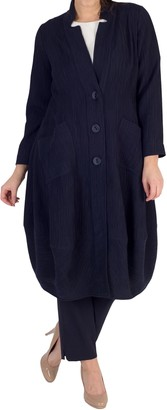 Chesca Textured Jacquard Notch Neck Coat, Navy