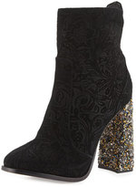 Sophia Webster Kendra Brocade 100mm Bootie, Baroque Black