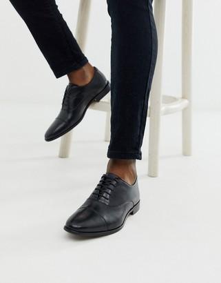 Walk London alfie toe cap oxford shoes in black leather