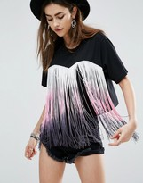 Asos Festival Crop T-Shirt With Fringing