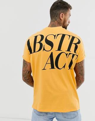 Asos Design DESIGN organic cotton oversized longline t-shirt with large back text print and roll sleeve