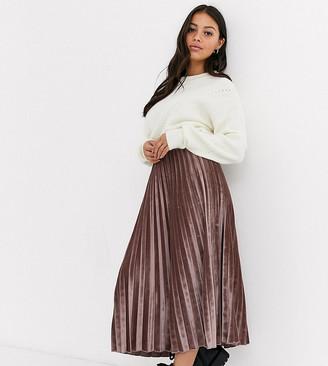 Asos DESIGN Petite pleated midi skirt in velvet-Pink