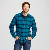 Merona Men's Print Crepe Flannel Button Down Shirt Teal