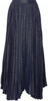 Alice + Olivia Katz Pleated Metallic Silk-blend Jacquard Maxi Skirt - Navy