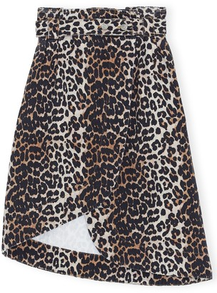 Ganni Print Denim Asymmetric Skirt in Leopard