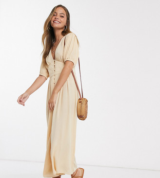 ASOS DESIGN petite crinkle tea jumpsuit with puff sleeve in stone