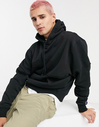 Russell Athletic fleece logo hoodie in black