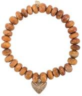 Sydney Evan 14kt Gold Diamond Heart Charm Tiger Eye Beaded Bracelet