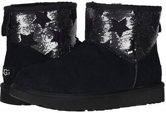 UGG Classic Mini Sequin Stars (Black) Women's Boots