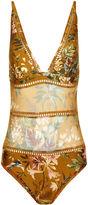 Zimmermann Mustard Tropical Floral Swimsuit