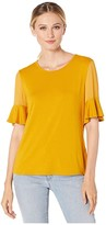 Vince Camuto Flutter Sleeve Mix Media Top w/ Chiffon Inset Blouse (Honey Pot) Women's Clothing
