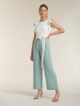Forever New Leonie Petite Frill Sleeve Jumpsuit - Porcelain/Sage - 4