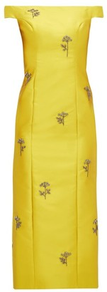 Erdem Angelique Beaded Mikado Midi Dress - Womens - Yellow
