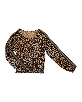 Flowers by Zoe Girl's Leopard Print Smocked Hem Top, Size S-XL