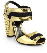 Fendi Polifonia Metallic Leather Studded-Heel Sandals