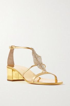 Giuseppe Zanotti Crystal-embellished Metallic Leather Sandals - Gold