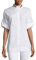 Escada Rolled-Sleeve Buckle-Detail Shirt, White