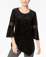 NY Collection Textured Velvet Top