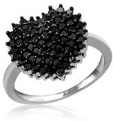 Ice 1 CT TW Round Black Diamond Sterling Silver Heart Shaped Cluster Ring by JewelonFire