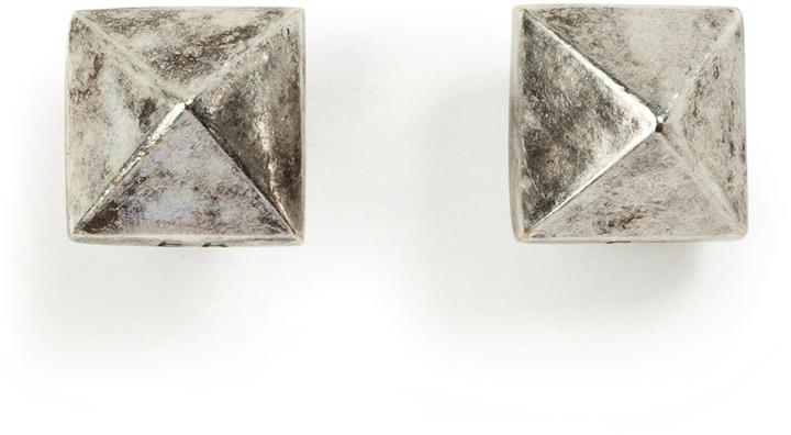 Eddie Borgo Pyramid Stud Earrings in Silver