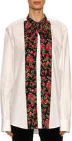 Dolce & Gabbana Rose-Paneled Poplin Tunic Blouse, White Pattern