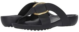 Crocs Serena Cross Band Slide (Black) Women's Slide Shoes