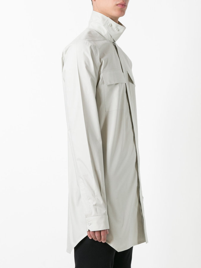 Rick Owens high-neck collar shirt