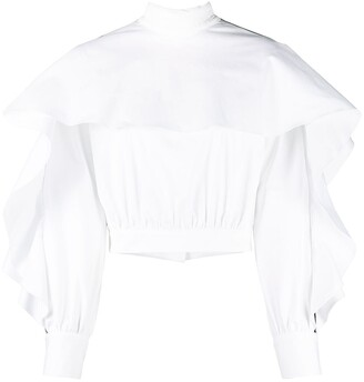 Just Cavalli Ruffle-Trim Open-Back Blouse