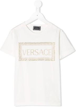 Versace studded logo embellished T-shirt