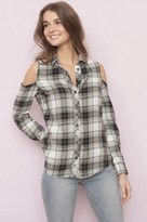 Garage Cold Shoulder Plaid Shirt