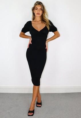 Missguided Black Wrap Front Milkmaid Midi Dress