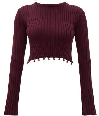 STAUD Beaded Cropped Cotton Sweater - Womens - Brown