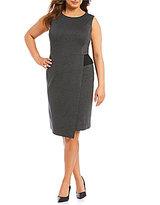 Kasper Plus Ponte Faux-Wrap Sheath Dress