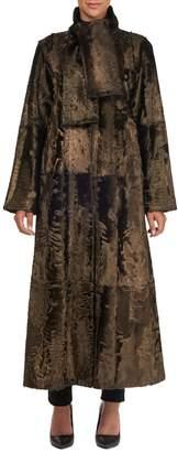 Oscar de la Renta Long Tie-Collar Lamb Shearling Coat