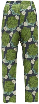 Biyan Floral-print Silk-twill Trousers - Green Multi