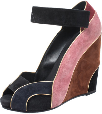 Pierre Hardy Multicolor Suede Ankle Strap Wedge Peep Toe Sandals Size 40