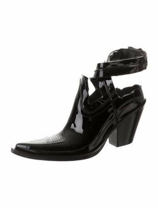 Maison Margiela Texan Patent Leather Cutout Boots w/ Tags Black