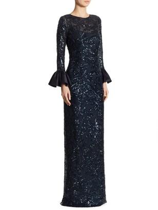 Teri Jon by Rickie Freeman Sequined Bell-Sleeve Gown