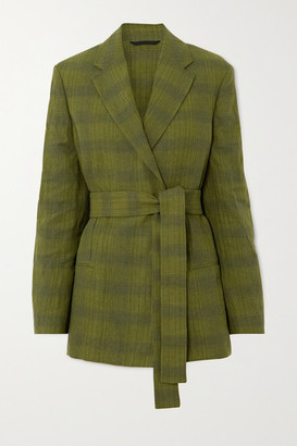Acne Studios Oversized Belted Double-breasted Checked Linen-blend Blazer - Green