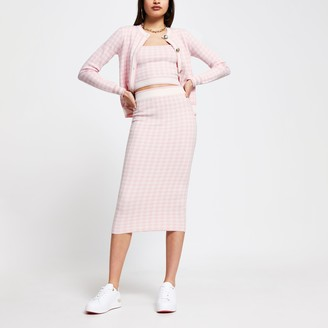 River Island Womens Pink dogtooth knitted midi skirt