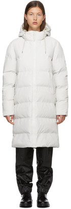 Rains White Taffeta Puffer Coat