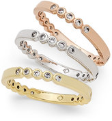 Kate Spade Tri-Tone 3-Pc. Set Crystal-Enhanced Stackable Rings